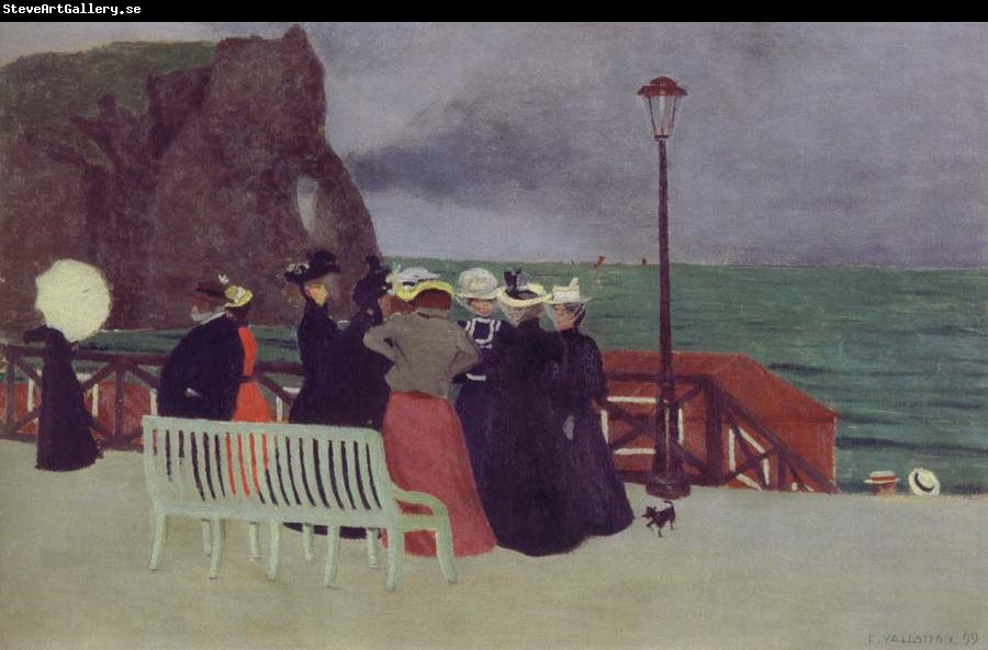 Felix Vallotton The Beach Promenade in Etretat