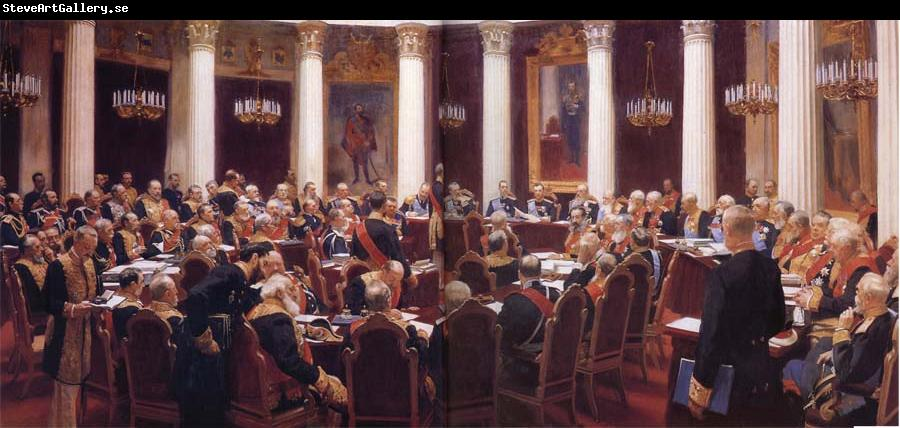 Ilya Repin Formal Session of the State Council Held to Hark its Centeary on 7 May 1901,1903