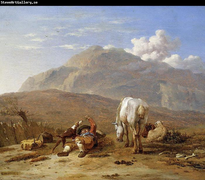 Karel Dujardin Southern landscape with young shepherd and dog