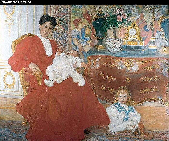 Carl Larsson Mrs Dora Lamm and Her Two Eldest Sons