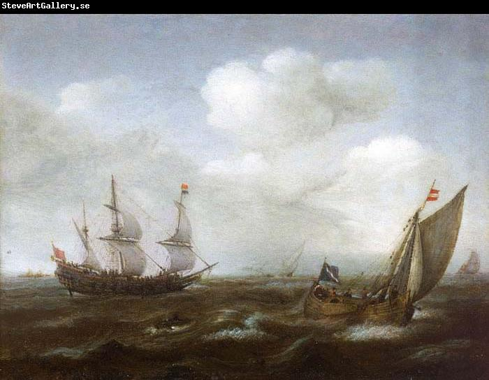 Hendrik Cornelisz. Vroom A Dutch Ship and Fishing Boat in a Fresh Breeze