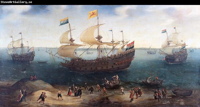 Hendrik Cornelisz. Vroom The Amsterdam fourmaster De Hollandse Tuyn and other ships on their return from Brazil under command of Paulus van Caerden.