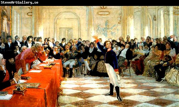 Ilya Repin Alexander Sergeyevich Pushkin recites his poem before Gavrila Derzhavin during the Tsarskoye Selo Lyceum exam on January 8th