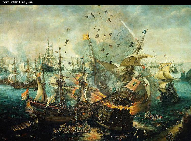 Hendrik Cornelisz. Vroom The explosion of the Spanish flagship during the Battle of Gibraltar, 25 April 1607.